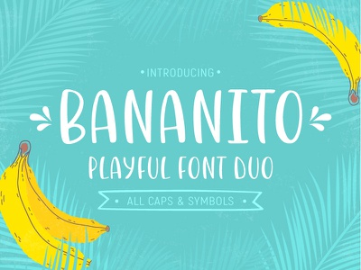 Bananito Font tropical letters calligraphy poster display uppercase playful lettering handwritten typeface font