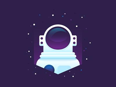 Astronaut space deep logotype logo icon drawing illustrator illustration vector character astronaut flat