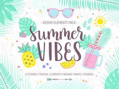 Summer Vibes Design Pack pattern lettering leaves palm pineapple fruit paradise tropical vibes summer illustration vector
