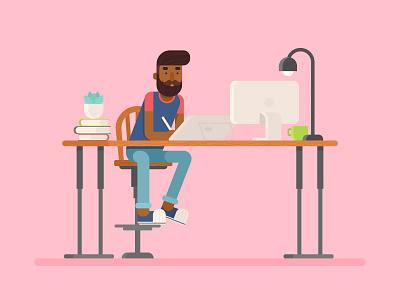 Flat Designer Character drawing tablet moustache hipster illustrator illustration character workplace workspace designer flat