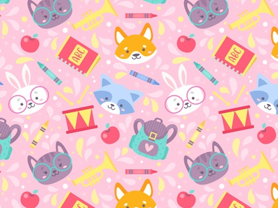 Cute Animals Pattern flat dog shiba bunny raccoon cat character animals cute vector pattern seamless