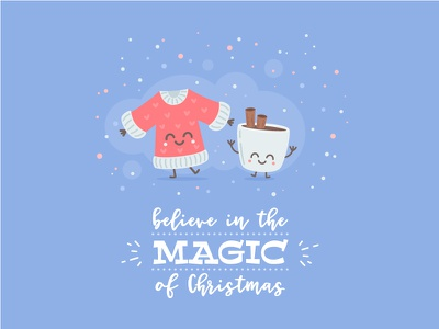 Christmas Card typography card magic sweater mug coffee flat cute vector character cartoon christmas