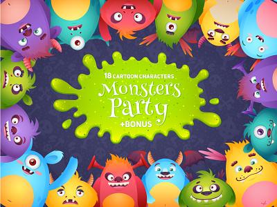Mosters Party creature children kids animal mascot illustrator illustration monster cartoon vector character halloween