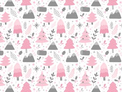 Scandinavian Winter Pattern fabric packaging cozy snow trees forest texture winter scandinavian pattern seamless christmas