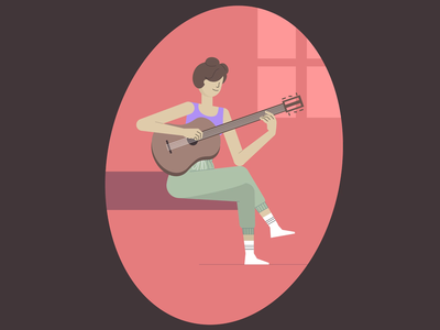 Girl playing guitar stayhome stay home guitar playing play music illustration rigging charachter 2d animation animation motion design 2d