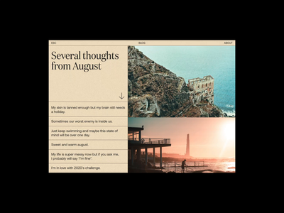 Several Thoughts from August. concept design uidesign interaction web design landing page design typography animation design ui design web