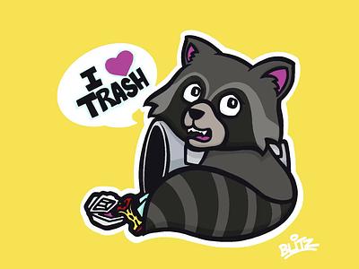 Trash Panda procreate art time lapse drawing illustration trash panda raccoon
