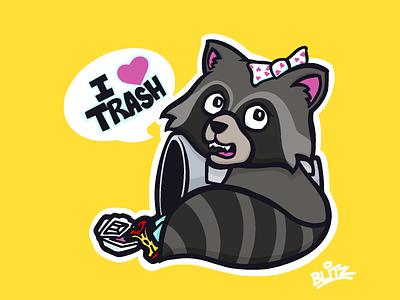 Trash Panda (with a Bow) drawing art procreate illustration cute bow trash panda raccoon