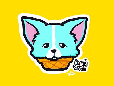 Corgis + Cream ice cream procreate illustration corgi