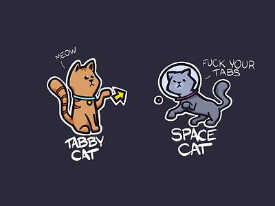 Tabby Cat vs. Space Cat procreate illustration cat