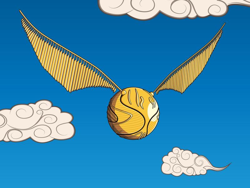 Golden Snitch asian clouds harry potter golden snitch illustration geek art geek illustrator graphic design