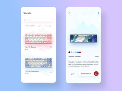 Varmilo App ecommerce ecommerce app store accessories ui interface design mobile ui mobile app application app design app