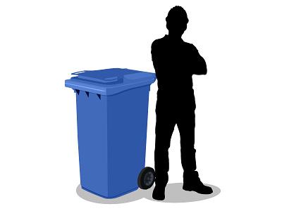 240 litre waste bin illustration vector rubbish waste bin