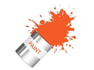 Paint Pot with spilt paint illustrator splat vector illustration pot paint