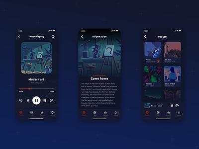 Podcast Mobile App creative clean ui music app uxui uidesign ui trend minimalism pastel social pantone discover podcast apple ux ui interface flat sketch design mobile