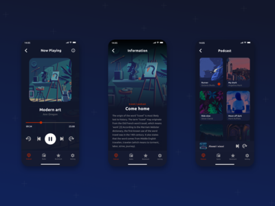 Podcast Mobile App creative clean ui music app uxui uidesign ui trend minimalism pastel social pantone discover podcast apple ux ui interface flat sketch design mobile