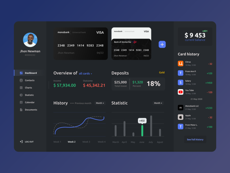 Online Banking Dashboard web design web application fintech banking