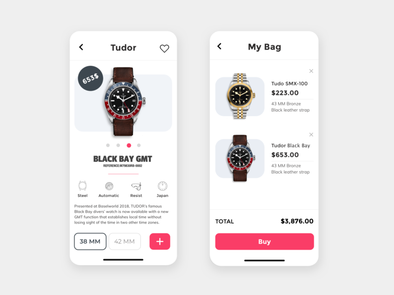 Watch Store App e-commerce mobile app mobile design