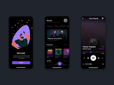 Music Streaming App onboarding music app mobile design