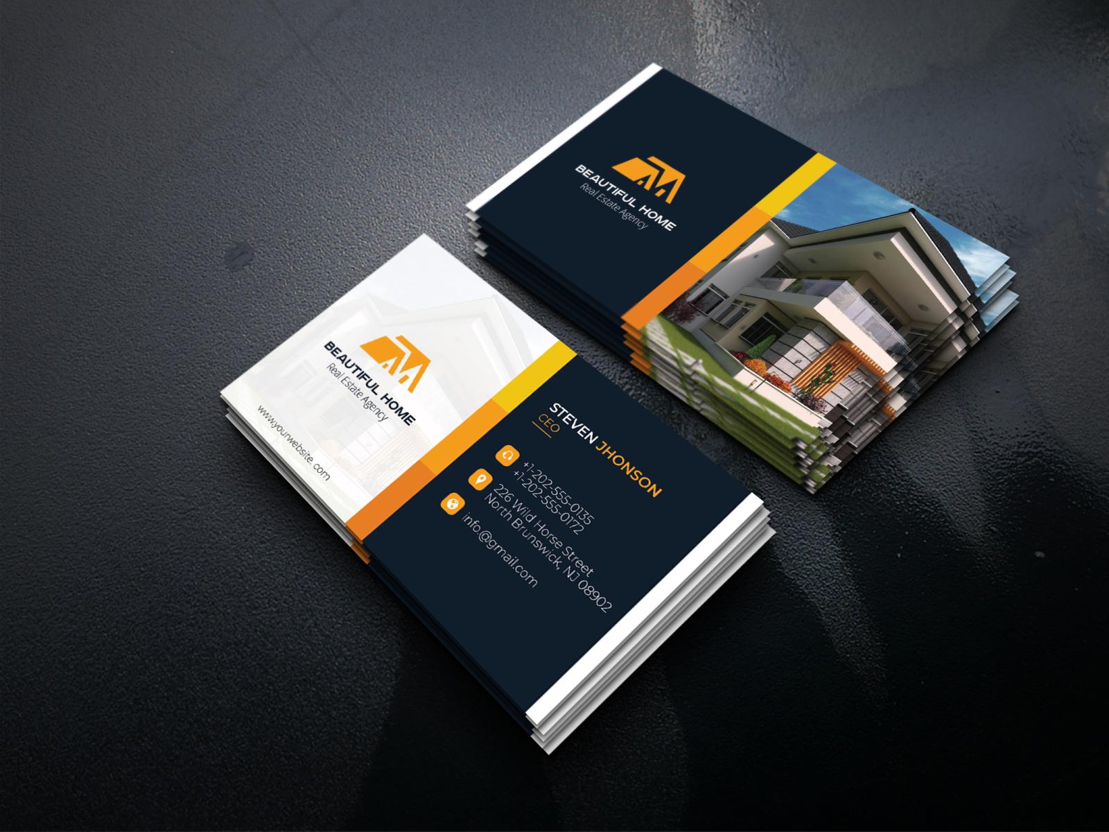 real estate business card designmuhammad rabi on dribbble