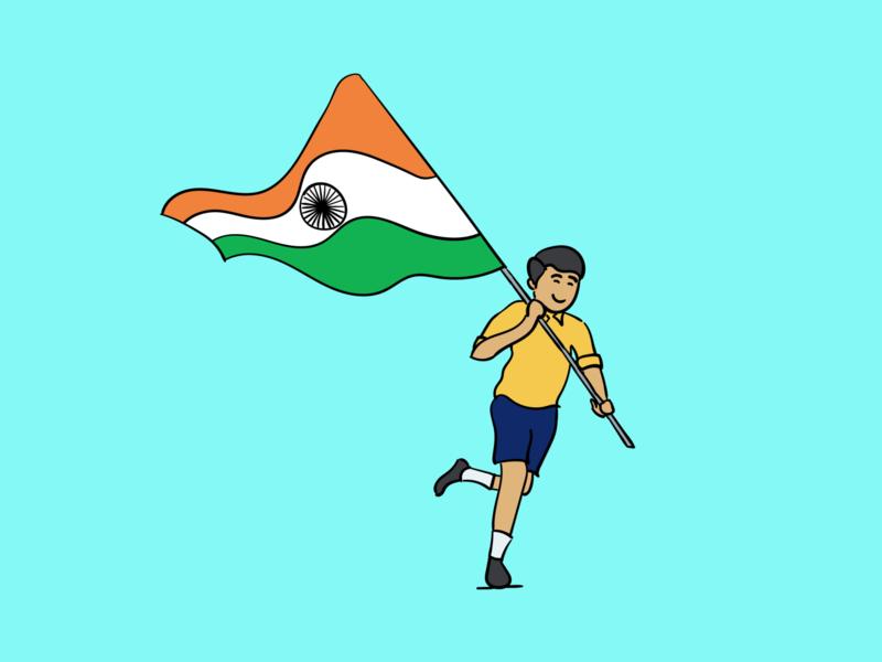 Kid with India flag illustration