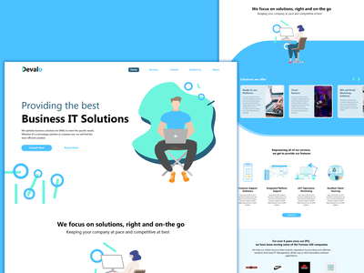 IT Solutions website web mobile vector flat