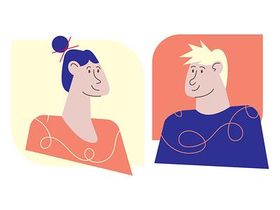 Two Flat Characters illustration vector flat minimal