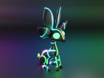 NVIDIA Studio unofficial mascot - Conejita RGB lighting design mascot challenge nvidia character art rgb minimal blender 3d