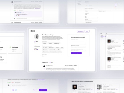 Ninj — web application for online consultations | ui/ux minimal layout interface flat digital design concept search clean business branding brand blue art app animation agency