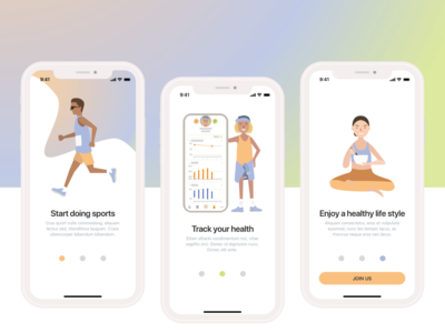 Onboarding pages for health tracking app