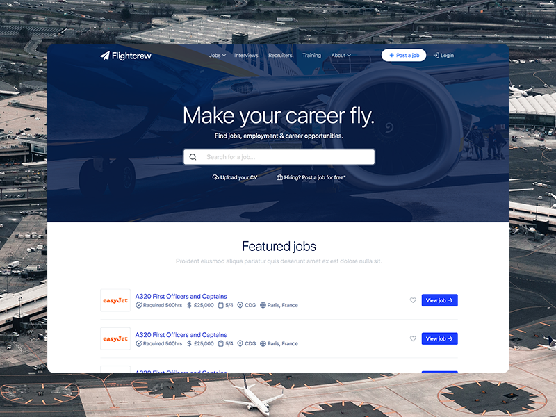 Flightcrew homepage list search web design flightcrew coming soon ux ui website design homepage