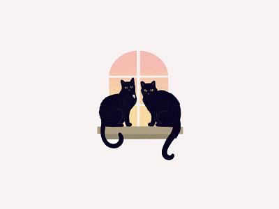 Cats in a Window procreate sunset illustration window feline pet cats cat
