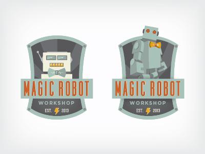 Magic Robot Logo robot magic workshop badge bowtie logo emblem
