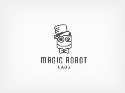 Magic Robot Labs v2 outline line robot magic logo gray labs workshop rebound startup stroke bowtie
