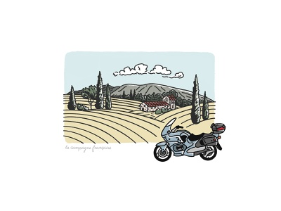 French Countryside Illustration procreate house villa cycle motorcycle illustration scene mountains fields countryside french