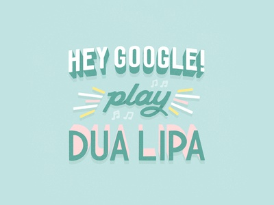 Hey Google! hand lettering procreate pink teal music assistant google hey handlettering lettering