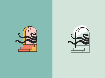 A Doorway eerie creepy tentacles ink hand drawn handdrawn depths ocean cthulu stairs opening doorway octopus