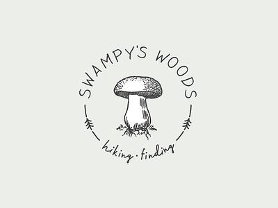 Swampy's Woods Logo handwritten script mushroom nature hiking badge logo badge