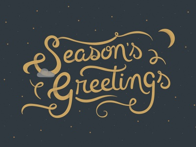 Season's Greetings handlettering gold greetings card holiday card script lettering seasons greetings seasons season holiday