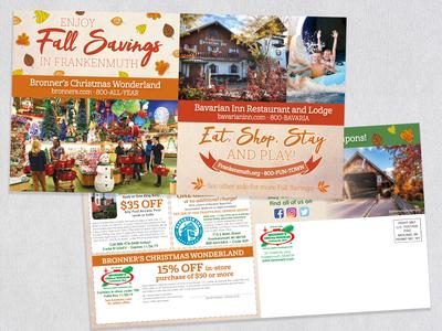 Bronner's and Bavarian Inn Fall Coupon Postcard 2019