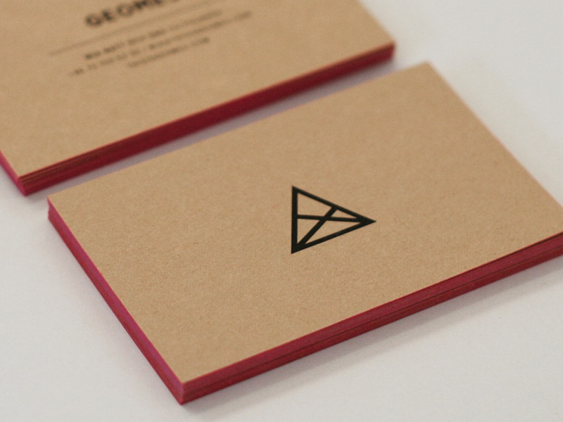 Geome3 geometry business card clean paper brown board pink