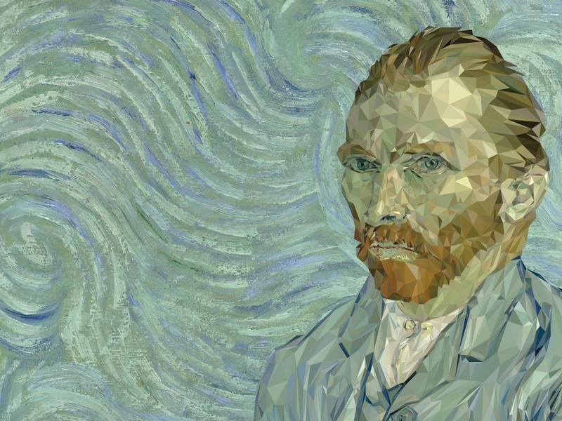 Van Gogh Self Portrait / Low Poly van gogh low poly art vector graphic  design illustrator design