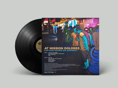 Last Night Outside Her Apartment LP Back Cover music vinyl record record cover vinyl digital art photography typography record sleeve record packaging design design packaging layout design