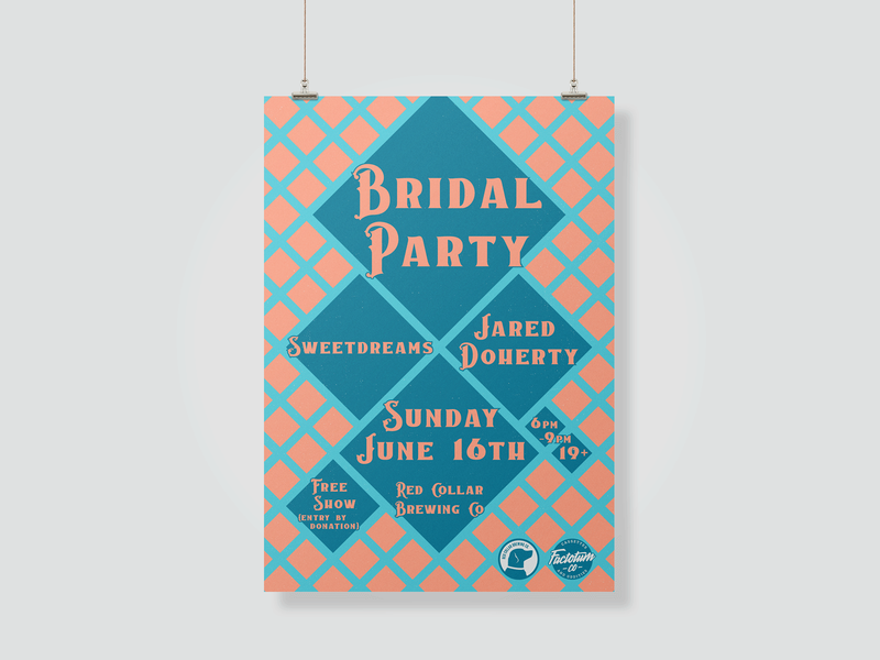 Bridal Party at Red Collar Brewing british columbia music poster print design print vector design typography minimal design poster design gig poster
