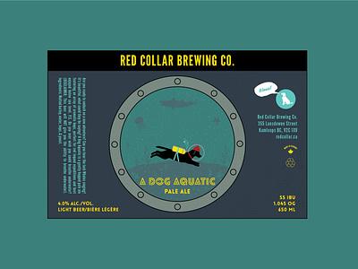 """A Dog Aquatic"" Pale Ale vector illustration design print aquatic themed artwork craft beer beer label british columbia wes anderson the life aquatic pale ale a dog aquatic"