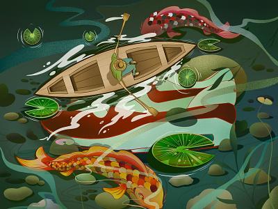underwater mysteries final illustration poster digital color editorial japan japanese art water editorial illustration editorial design art artwork commercial art illustration illustrator