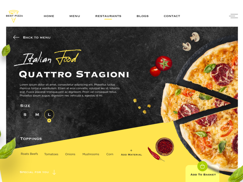Best Pizza Webpage Concept shop italian food pizza adobexd modern clean ui design ui web website design website webdesign userinterface uiux design