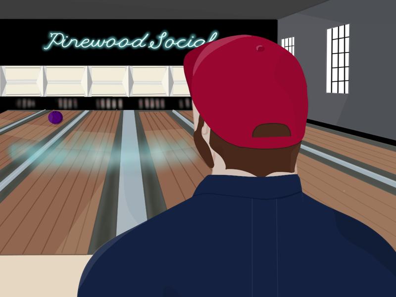 Pinewood Social//Illustration character design editorial art illustration nashville bowling