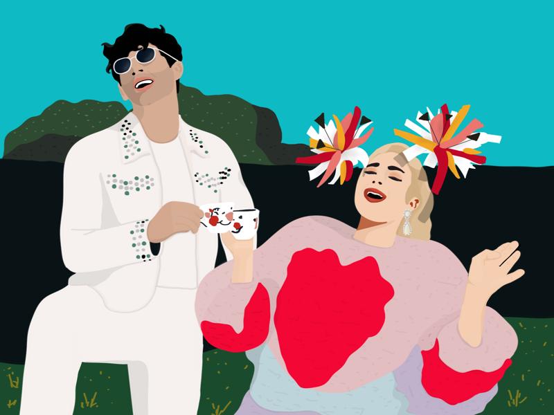 Sophie and Joe//Illustration editorial fashion tea party tea music game of thrones sophie turner jonas brothers joe jonas