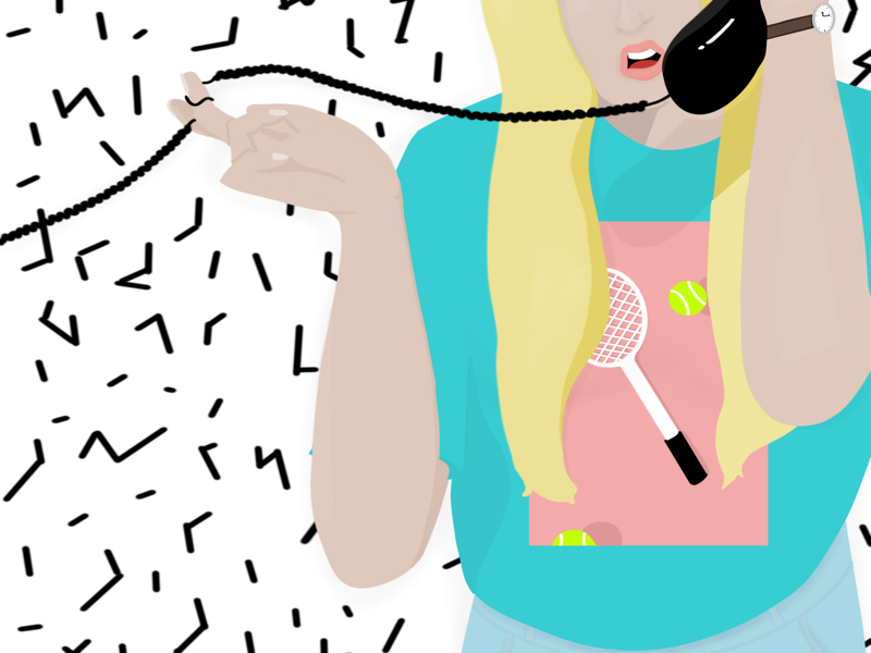 90s Girl design tennis phone fashion illustration 90s fashion 90s